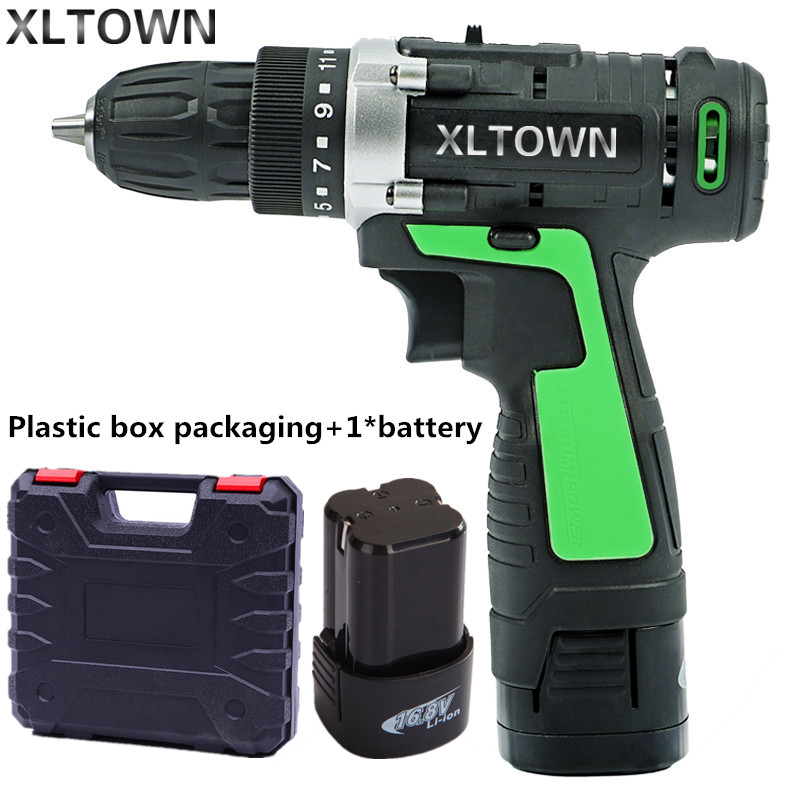 XLTOWN new 16.8v Electric Drill Electric Screwdriver Rechargeable lithium battery Two-Speed Electric Screwdriver power tools free shipping brand proskit upt 32007d frequency modulated electric screwdriver 2 electric screwdriver bit 900 1300rpm tools