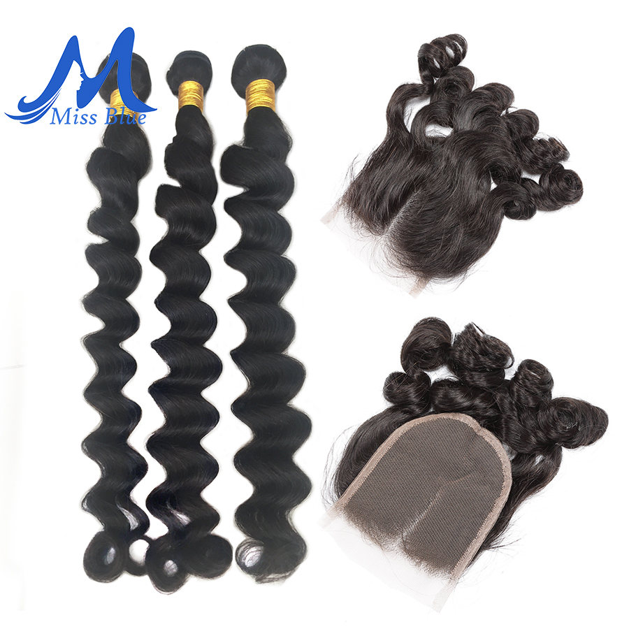 Missblue Bundles With Closure Brazilian Hair Weave Loose Wave 3 Bundles With Lace Frontal Remy Human