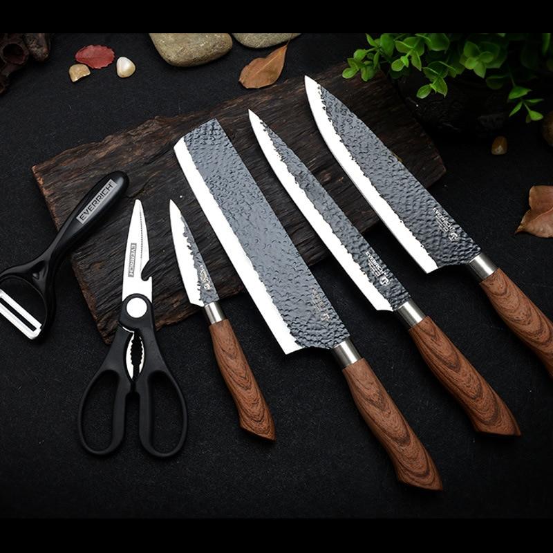 SHUOJI Best Kitchen Knives Set 6 PCS Forged Kitchen Knife With Scissors&Ceramic Peeler Chef Slicer Nakiri Paring Knife Gift Case 1