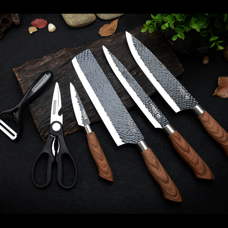 Shuoji Best Kitchen Knives Set 6 Pcs Forged Kitchen Knife With Scissors Ceramic Peeler Chef Slicer Nakiri Paring Knife Gift Case Knife Sets Aliexpress