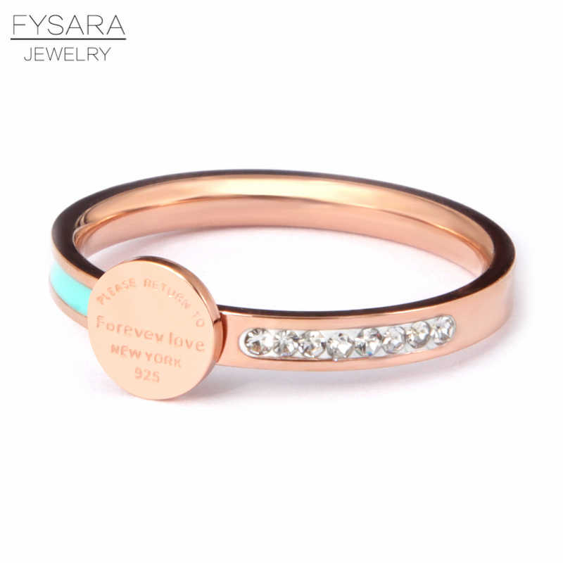 FYSARA Stainless Steel Forever Love Enamel Blue & Crystals Ring For Women Luxury Round Tag New York Female Finger Ring T Jewelry
