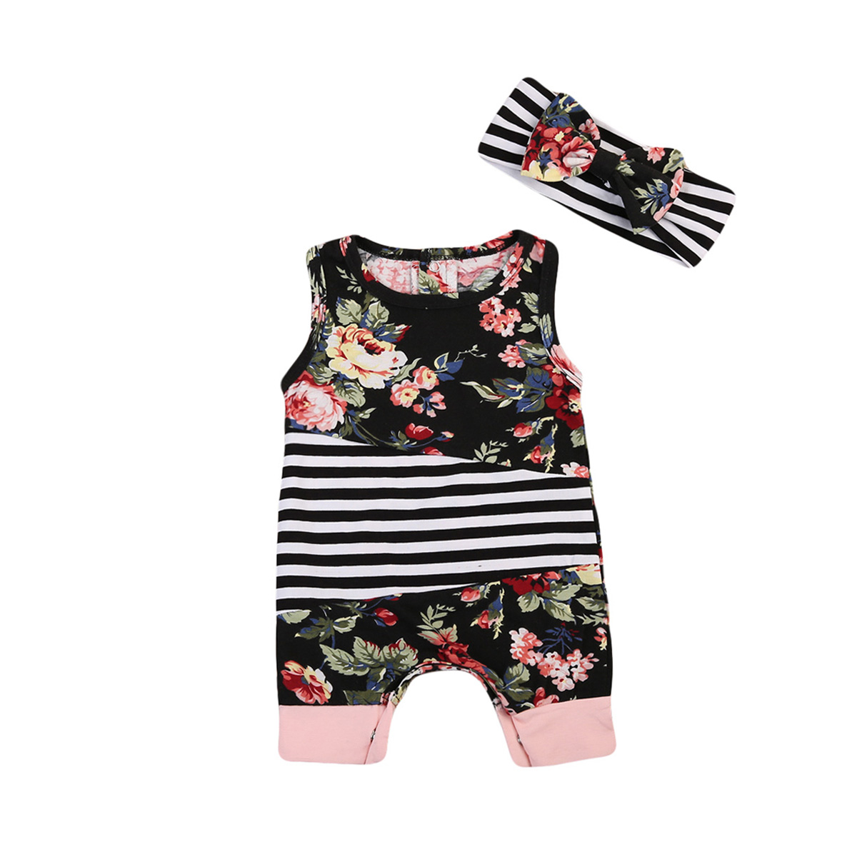 Newborn Baby Girls Floral Rompers Cotton Sleeveless Jumpsuit Headband Outfits Clothes Kids Clothing