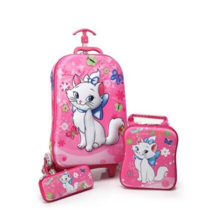 3D School Wheeled Backpack For Kids Rolling School Bags Girl Boy's Luggage Trolley Bag Children Travel Suitcase Mochilas Wheel