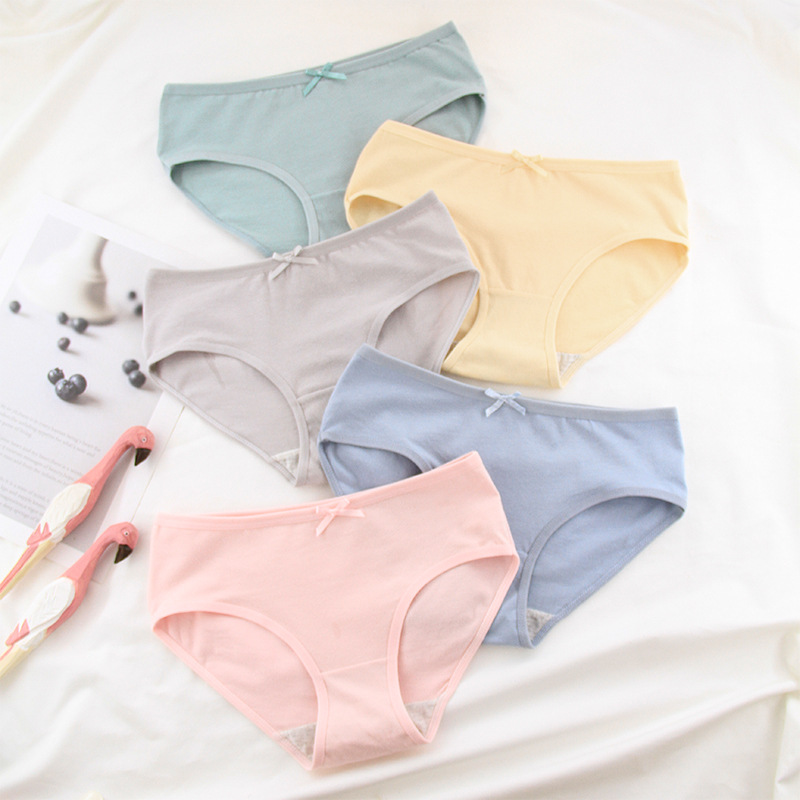 Girls Underwear 6pc/bag New Cotton Lovely Middle Waist Briefs Young Girl Panties Solid Teenagers Intimates 2019 M-XXL