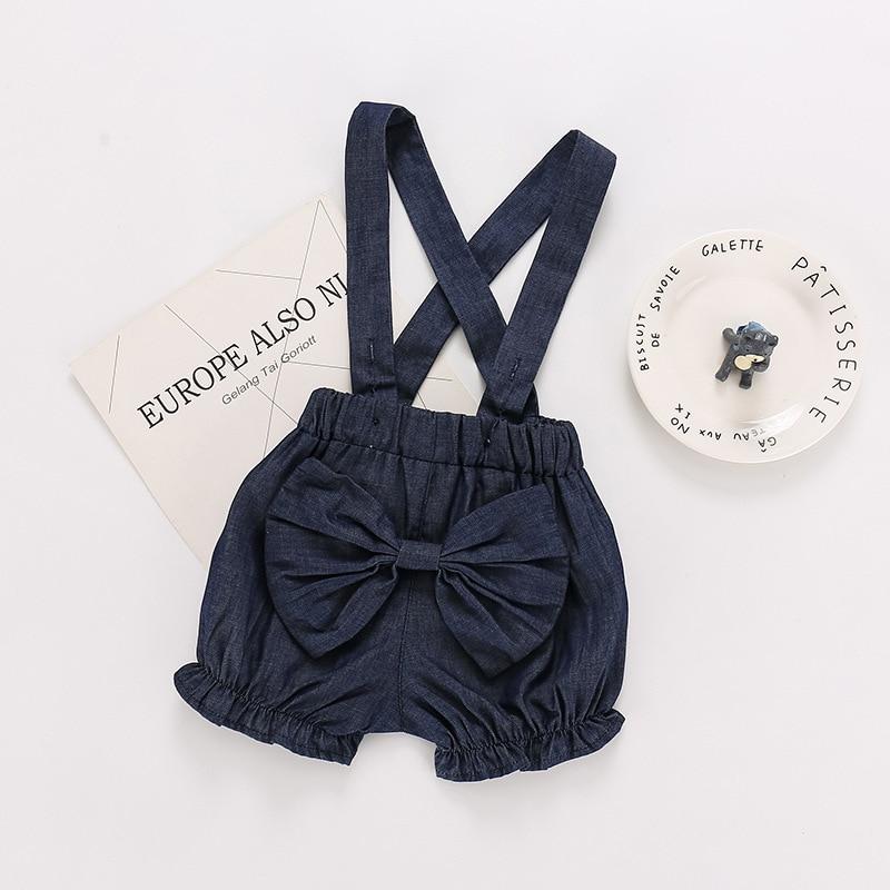 2020 models wild summer children's clothing baby overalls girls jeans shorts bow Girls Jean Summer Children girl short 3