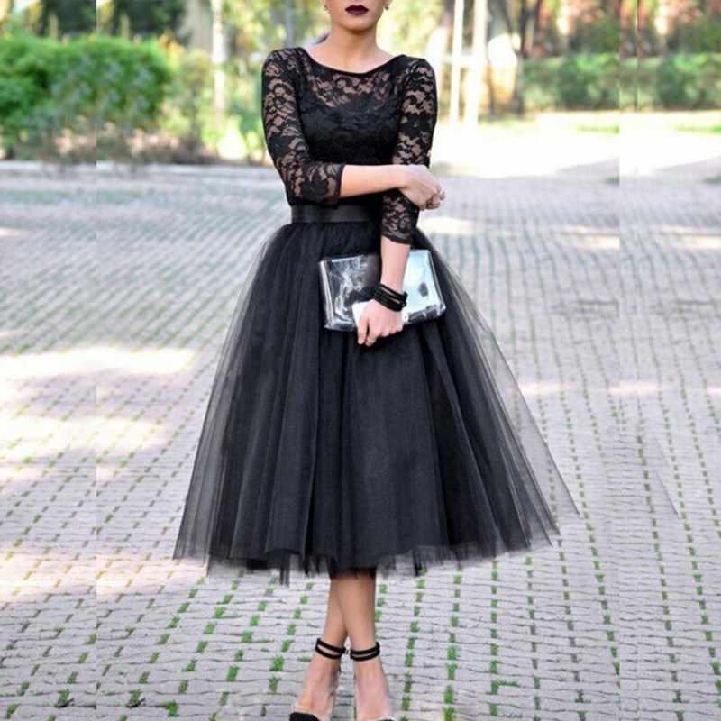 נשים תחרה טלאים כדור שמלת שמלות טול טוטו אמצע עגל שמלות אלגנטי מסיבת O-צוואר גבוה מותן Vestidos קיץ שמלה