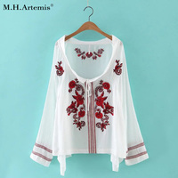 M H Artemis Ethnic Embroidery Floral Drawstring Neckline New Arrival Lace Up Women S Casual Top