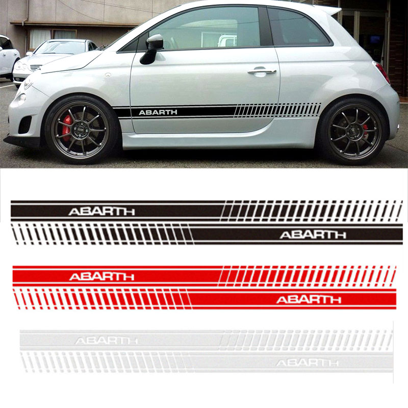 2pcs Car Styling Abarth Side Skirt Sticker Racing Stripe Body Stickers for FIAT 500 Dd9390