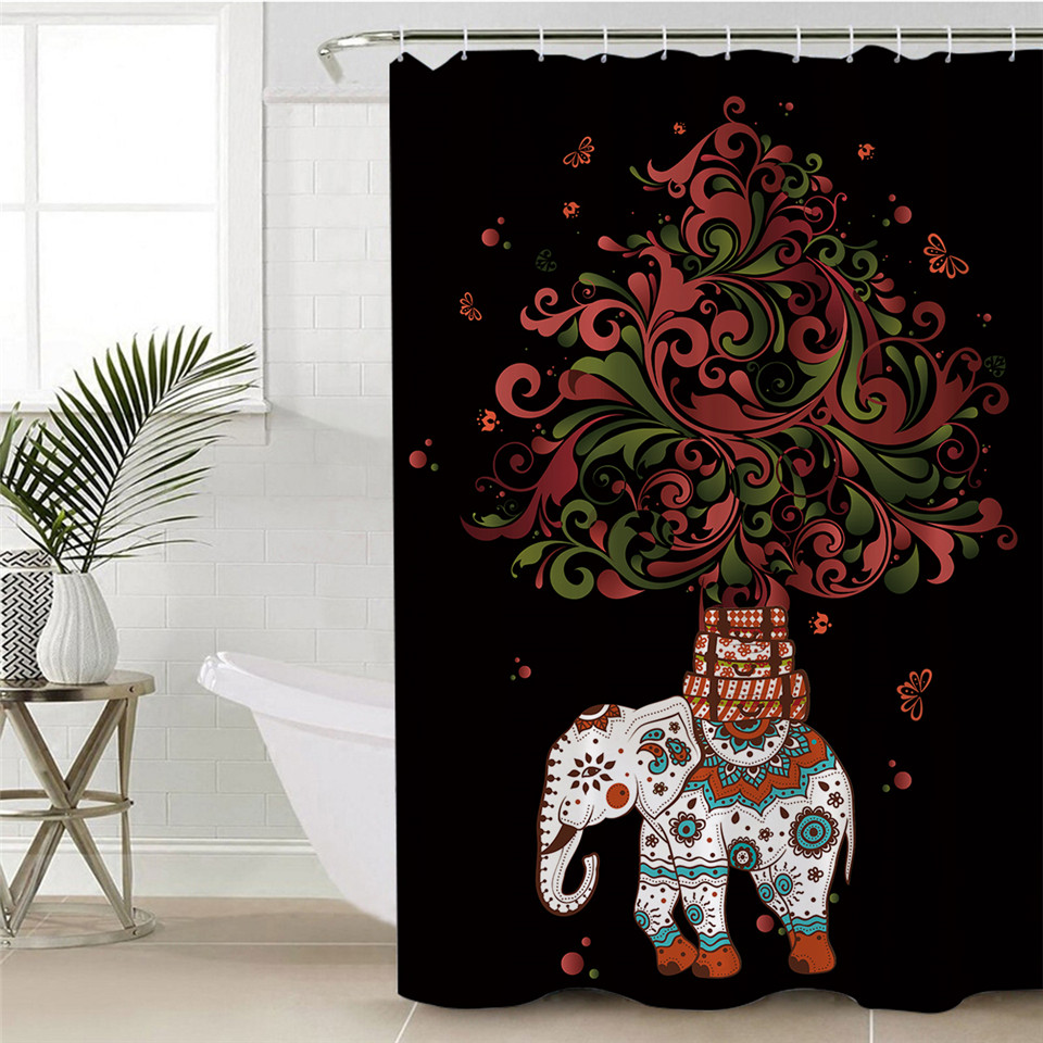 BeddingOutlet Boho Shower Curtain Polyester Waterproof Indian Elephant Bath With Hooks Bohemian Bathroom Decoration In Curtains From Home