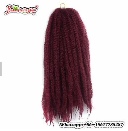 18 1packs/lot Afro Kinky Marley Braid Extensions Hair 100g 30Roots foled/pack Ombre low Synthetic fiber Hair for Women