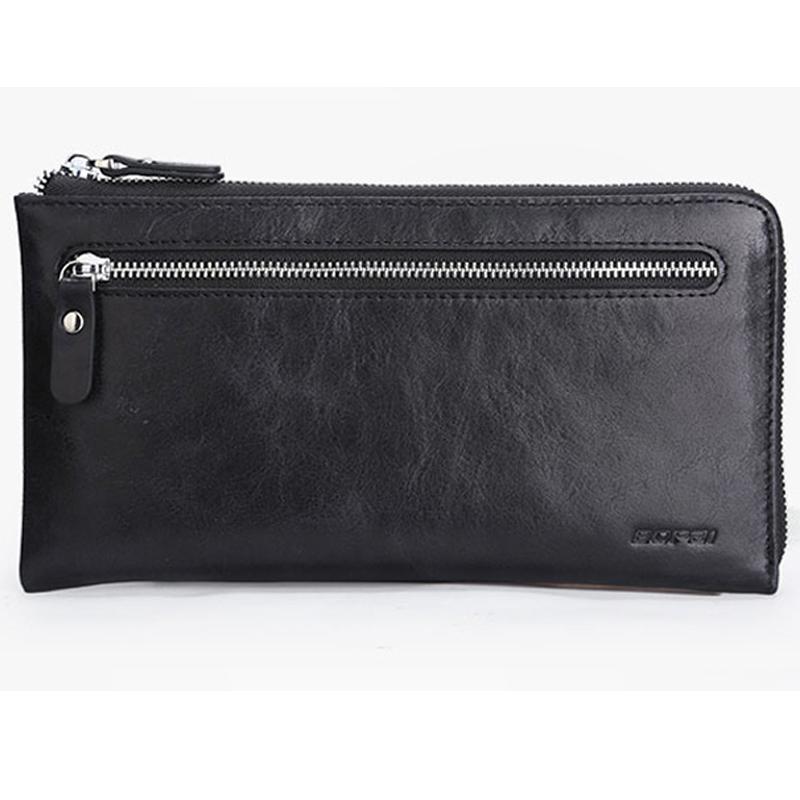 Prix pour BOPAI Portefeuilles En Cuir Noir Mince Titulaire de la Carte Wallet Zipper Véritable En Cuir Hommes Embrayage Sacs Multifonctionnel Mobile Portefeuille Cas