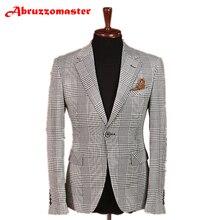 Abruzzomaster/Мужские костюмы в клетку с узором «гусиная лапка», 2 предмета, мужской костюм в клетку с узором «гусиная лапка», мужские блейзеры на свадьбу
