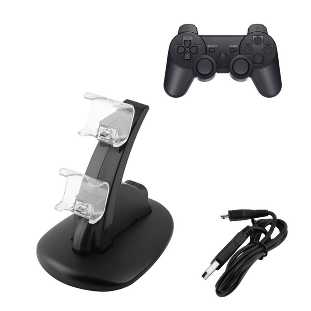 LED Dual USB Charging Charger Dock Stand Cradle Docking Station for Sony Playstation 4 PS4 Game Gaming Console Controller