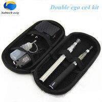 Hot Double eGo T ce4 kit e cigarette Ego T battery with 2 CE4 Atomizers cigarette electronic Starter kit vape pen zipper case
