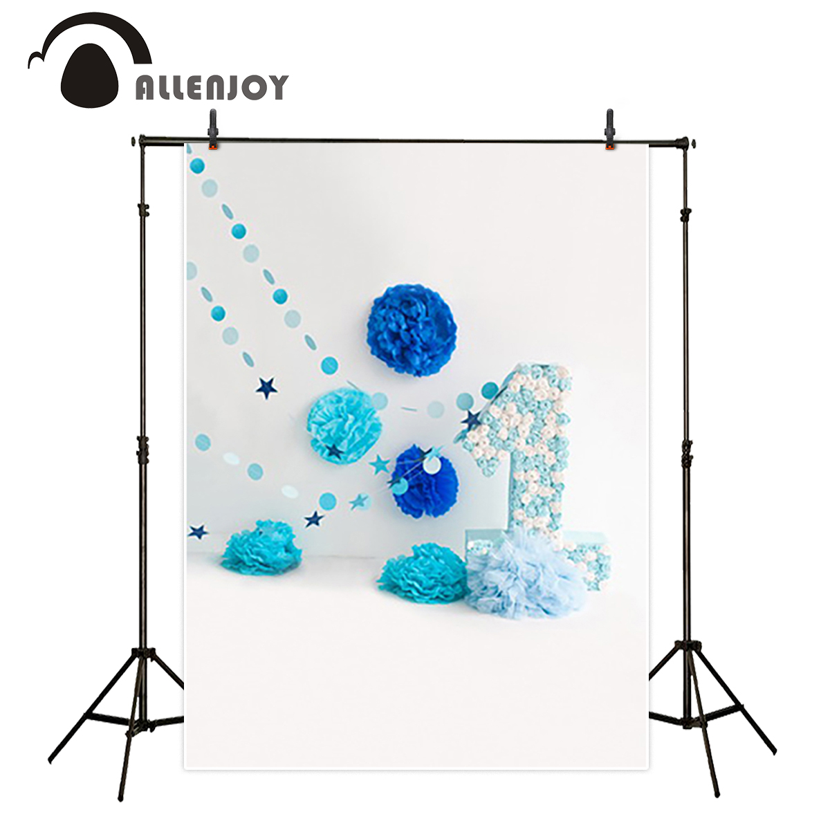 Allenjoy Luxurious Photo Background 1 Year Old Birthday Party Blue Flower Cute Indoor Real Camera Photography Studio