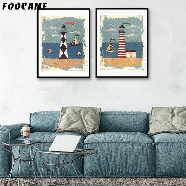 Decoratie Aan De Muur.Us 3 47 42 Off Foocame Cartoon Zee Vuurtoren Posters En Prints Art Canvas Schilderij Moderne Decoratie Muur Foto S Voor Woonkamer In Foocame