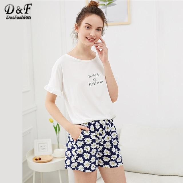 Dotfashion Ruffle Hem Flower & Letter Print Pajama Sets Summer Ladies Casual Round Neck Short Sleeve Women Multicolor Sleepwear