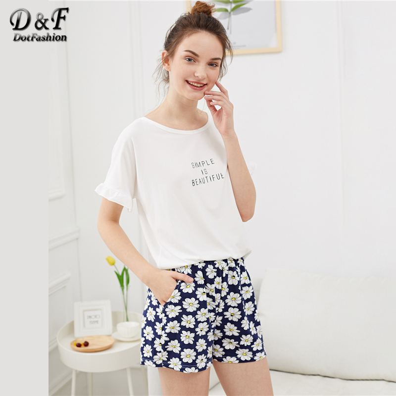 Dotfashion Ruffle Hem Flower & Letter Print   Pajama     Sets   Summer Ladies Casual Round Neck Short Sleeve Women Multicolor Sleepwear