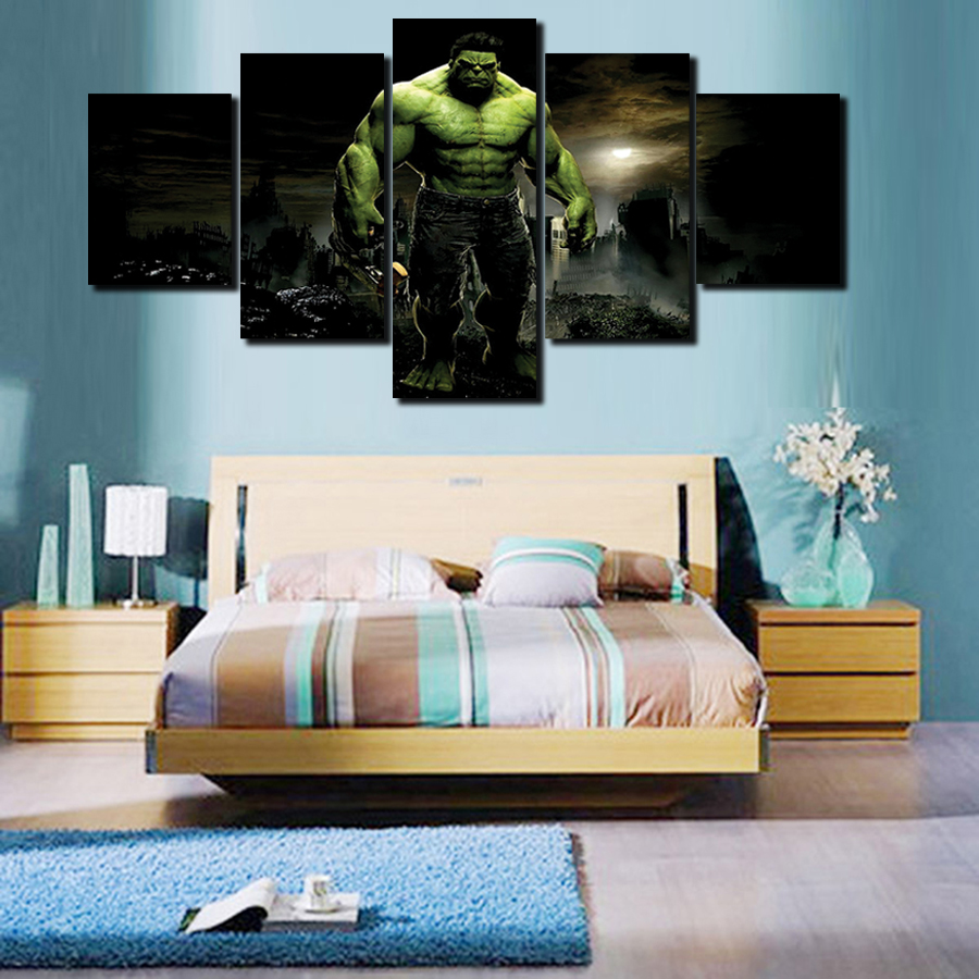 2016 New No Hot 5 Pcs Large Hd Hulk With Canvas Print Painting For Living  Room Wall Art Picture Gift With Cuadros Decoracion  In Painting U0026  Calligraphy From ...