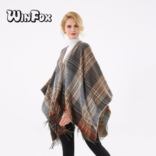 Winfox 2018 New Brand Fashion Winter Sweater Coat Open Front Orange Grey Tartan Plaid Pashmina Poncho Scarf For Womens