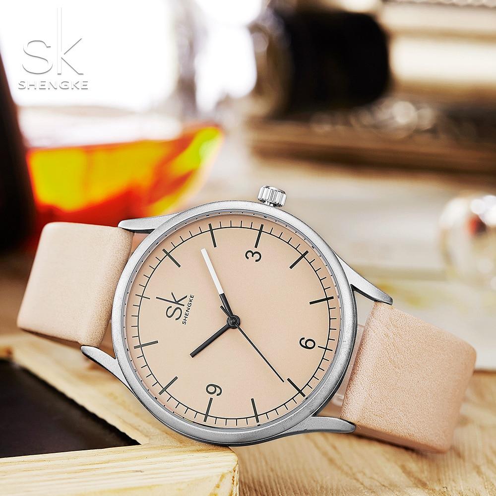 Image 4 - Shengke Лидирующий бренд, кварцевые часы для женщин, Повседневная мода, японский механизм, кожа, аналоговые наручные часы, минималистичный дизайн, Relogio подарокЖенские часы   -