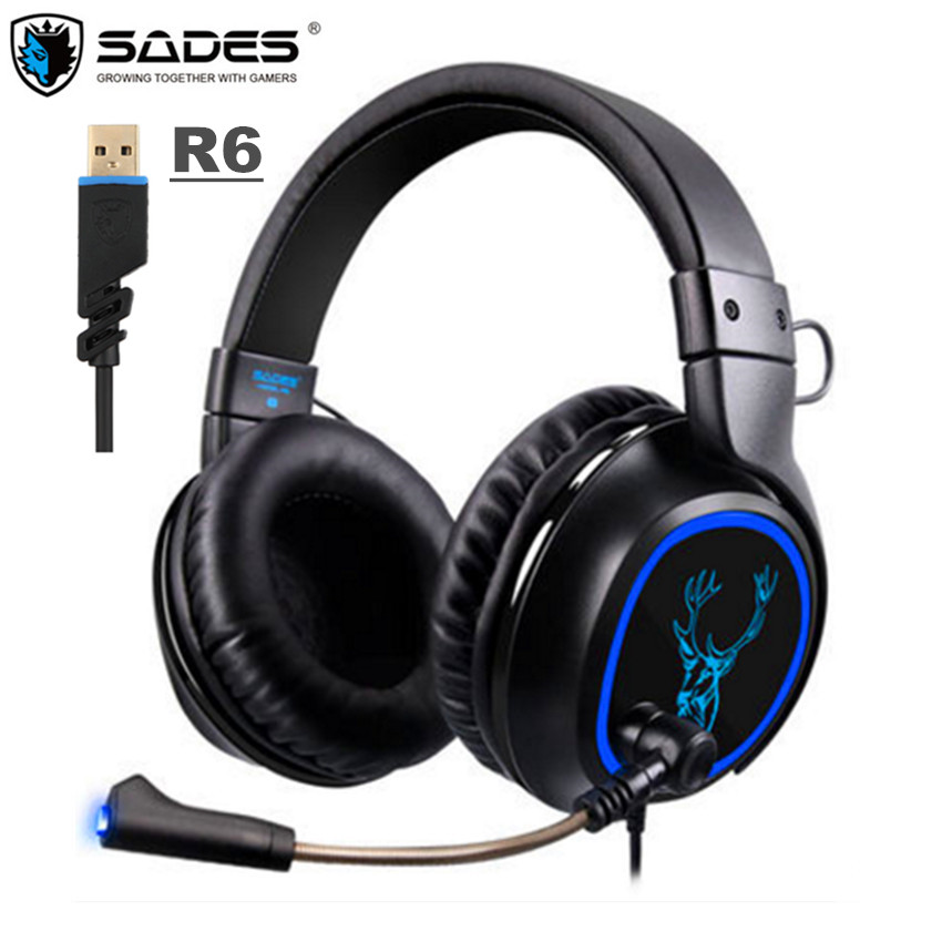 SADES R6 USB 7.1 Channel Sound Gaming Headphones For Computer PC Gamer with Mic R5 PS4 Game Headset for New xbox 1 Phone Laptop each g8200 gaming headphone 7 1 surround usb vibration game headset headband earphone with mic led light for fone pc gamer ps4