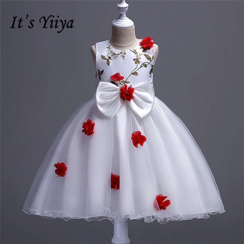 It's YiiYa Real Picture 5 Colors Sleeveless O-Neck Bow Embroidry Appliques Pearls Lace Kids Princess   Flower     Girls     Dress   TS065