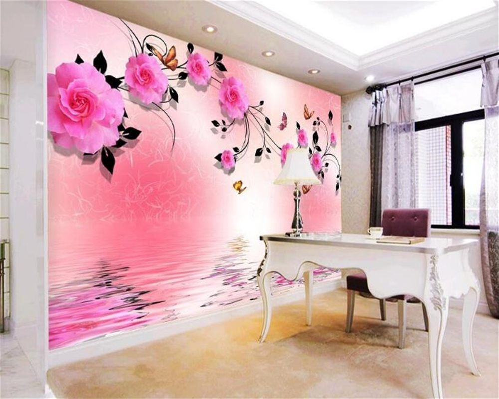 beibehang Suitable for indoor aesthetic home decoration 3d wallpaper rose reflection TV background wall papel de parede tapety