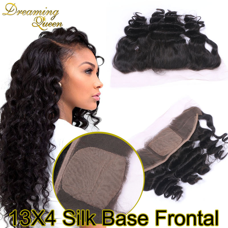купить Silk Base Frontal Closure 7A Peruvian Virgin Hair Loose Curly Wave Silk 13x4 Lace Frontal Closure With Baby Hair Bleached Knots