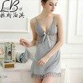Cinza alcinhas hot vender moda mulheres modal camisola feminina saia curta confortável sleepwear sexy recorte de renda tentação