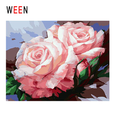 WEEN Blooming Pink Rose Diy Painting By Numbers Flower Oil On Canvas Cuadros Decoracion Acrylic Wall Art Home Decor New