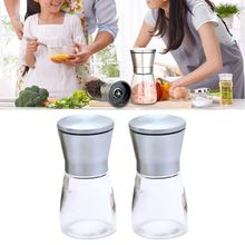 2pcs Manual Pepper Grinders Kit Salt Mill Bottle Seasoning Spices Condiment Jar Holder Kitchen Tools