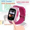 Q90 Touch Screen WI-FI Inteligente Relógio bebê Criança Localizador Dispositivo GPS relógio Rastreador para Crianças Anti Perdeu 50 pçs/lote Livre DHL FED