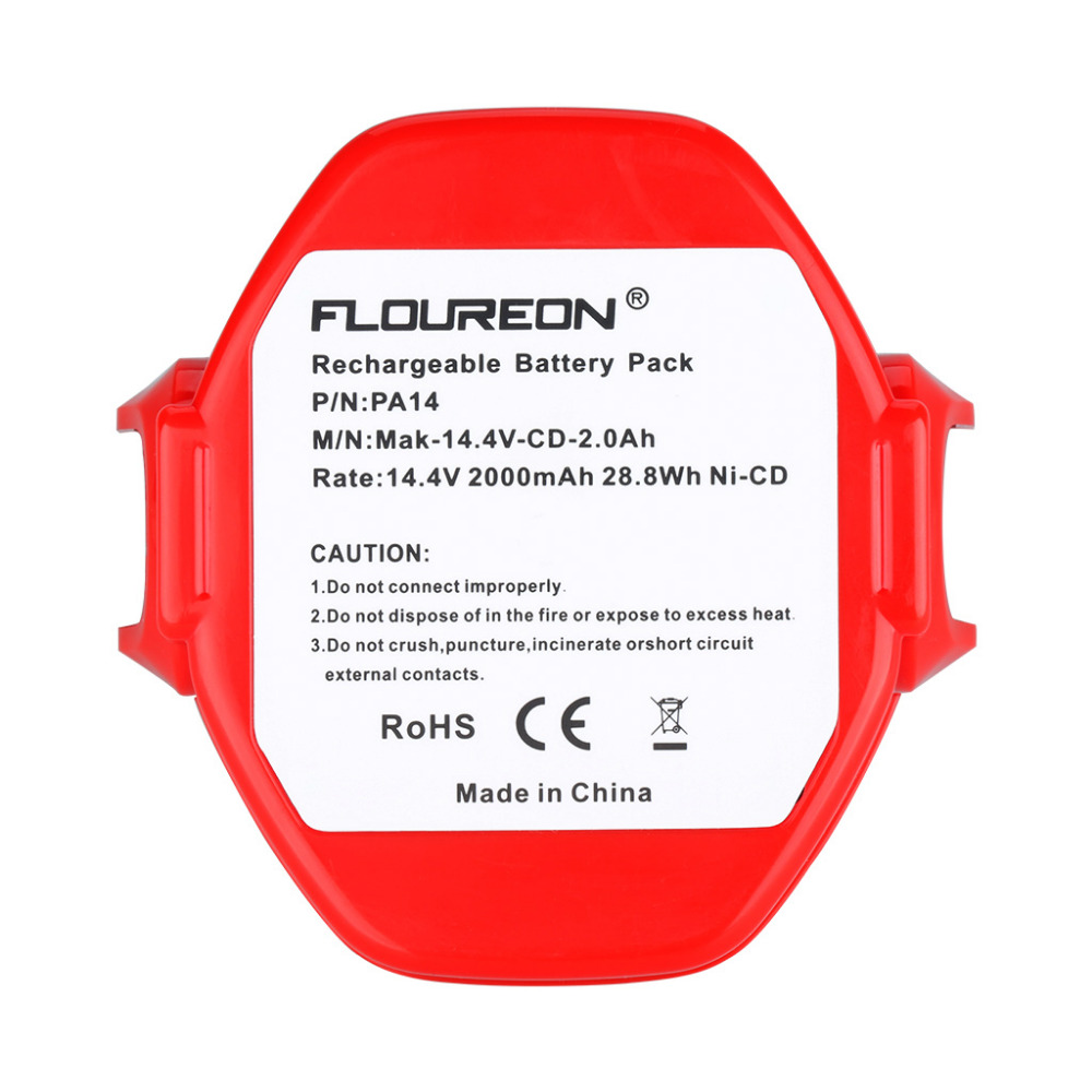 FLOUREON Batterie pour Makita PA14 JR140D 1420 1422 1433 1434 1435F 192699-A 14.4V 2.0Ah Ni-CD