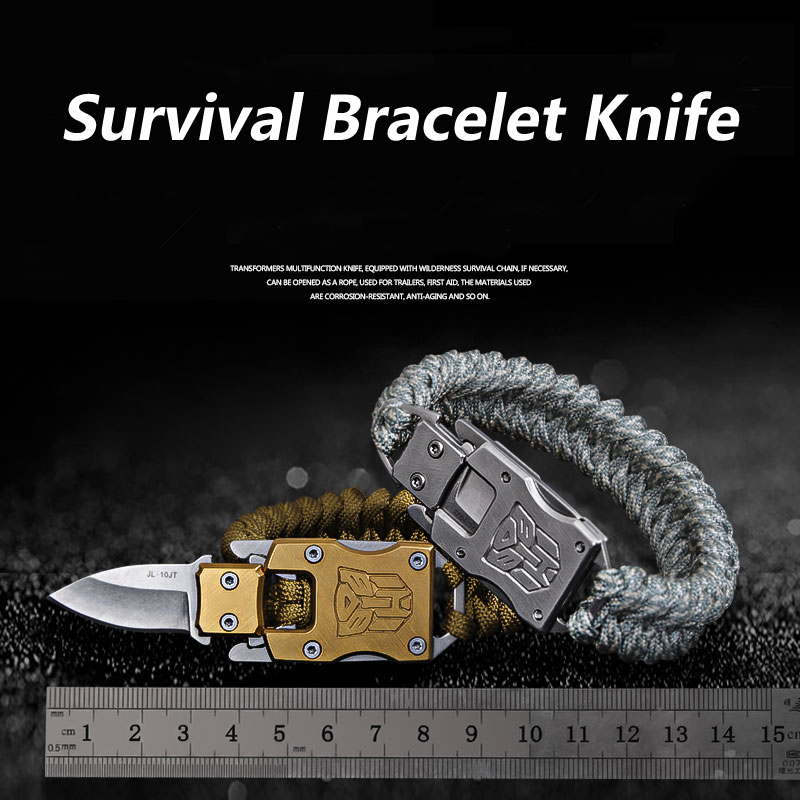 Tactical Handle Umbrella Rope Bracelet Knife EDC Multifunction Camping Survival Defences Tool Small Keychain Outdoor Wristband