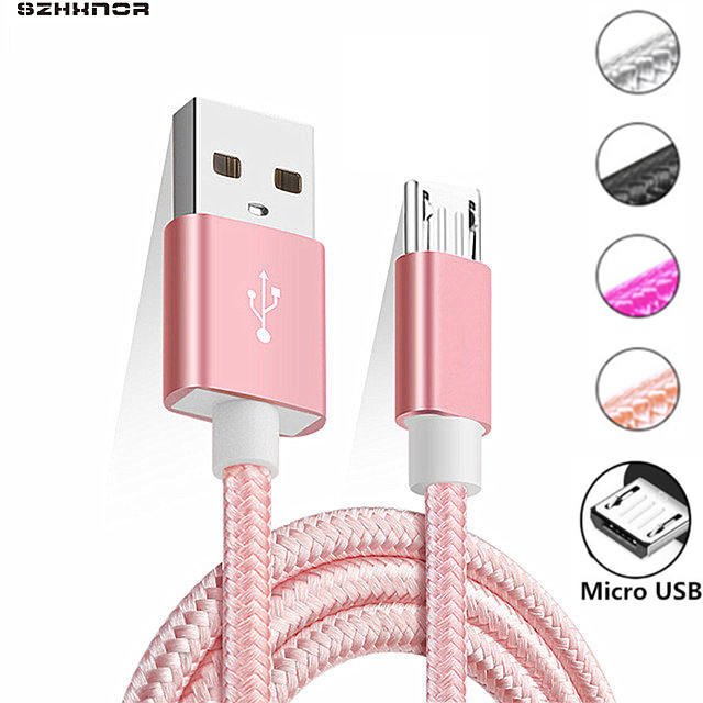 pink New 2M 3M Fabric Nylon Braided Micro USB Cable for xiaomi redmi note 5 6 pro 4x Samsung Blackberry HTC Cloth Braided Cable