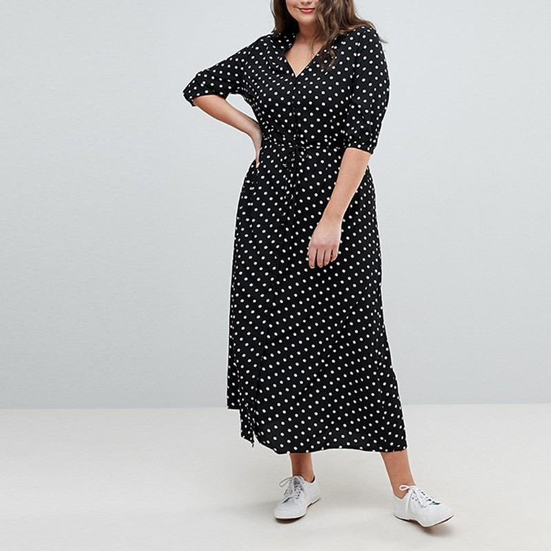 HDY Haoduoyi 2019 New Elegant Party Dress Dot Printing V-Neck Tie Waist Slim Large Plus Size Casual Female Summer Vestido