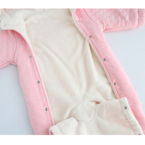 Image 5 - newborn baby girl winter clothes suit fleece coral cotton padded baby rompers thick warm with hood 0 1 year Casaco de inverno