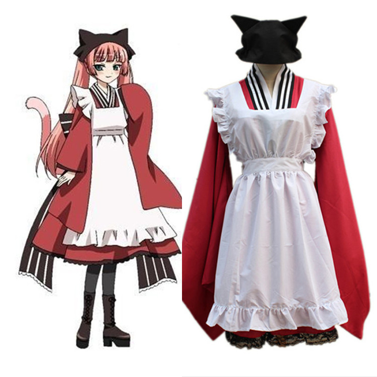 Anime Gugure! Kokkuri-San Cosplay Costumes Tama Maid Uniform Cosplay Costumes Halloween Party Women Cosplay Costumes
