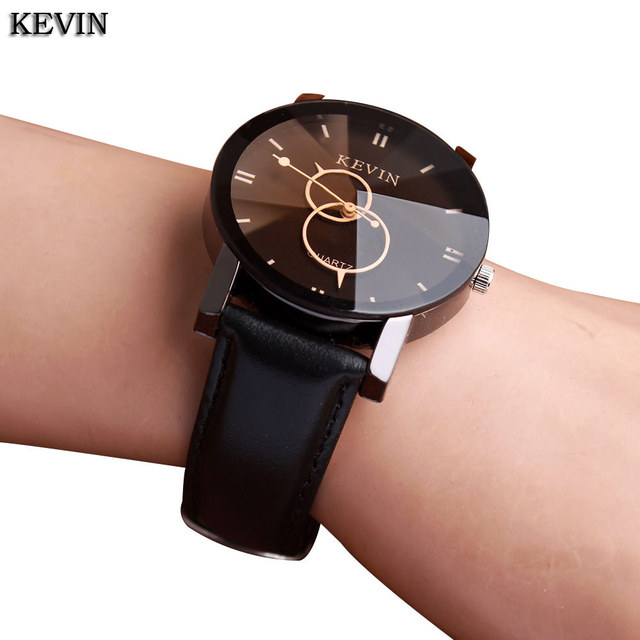 KEVIN New Fashion Design Women Watches Fashion Black Round Dial PU Leather Band