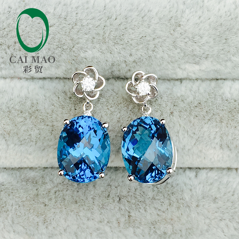 Caimao Jewelry 14KT White Gold 9x11mm Oval Cut Topaz Diamond Classicl Earrings free shipping caimao exquisite jewelry natural cabochon cut emerald baguette cut diamond 14kt white gold drop earrings
