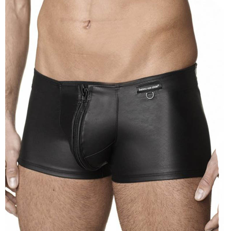 Mens <font><b>Leather</b></font> Boxer Shorts Black <font><b>Sexy</b></font> Zip Open Crotch Boxer Homme <font><b>Gay</b></font> Fetish Vinyl Club Wear Vinyl <font><b>Leather</b></font> Mens <font><b>Underwear</b></font> Boxers image