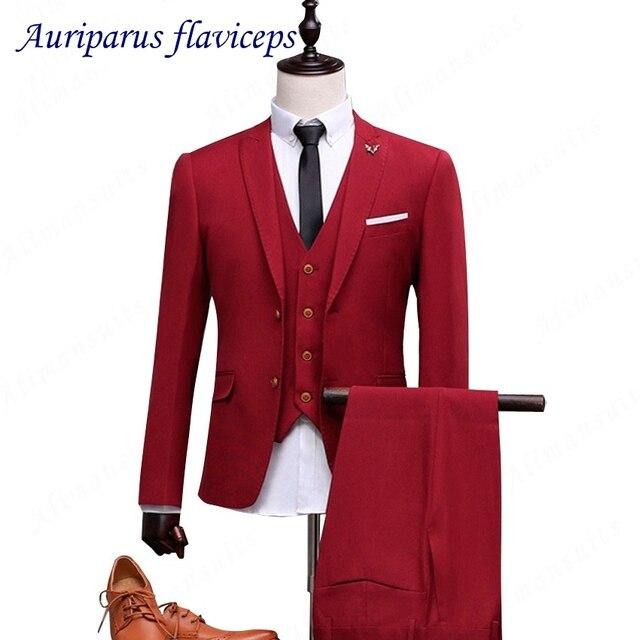 reputable site 59e96 6423d US $106.08 24% OFF Neuesten mantel hose designs Rote Suits (Jacke + Weste +  Hosen) Männer Slim Fit Anzüge Plus Größe M 4XL Herren Hochzeit Anzüge ...