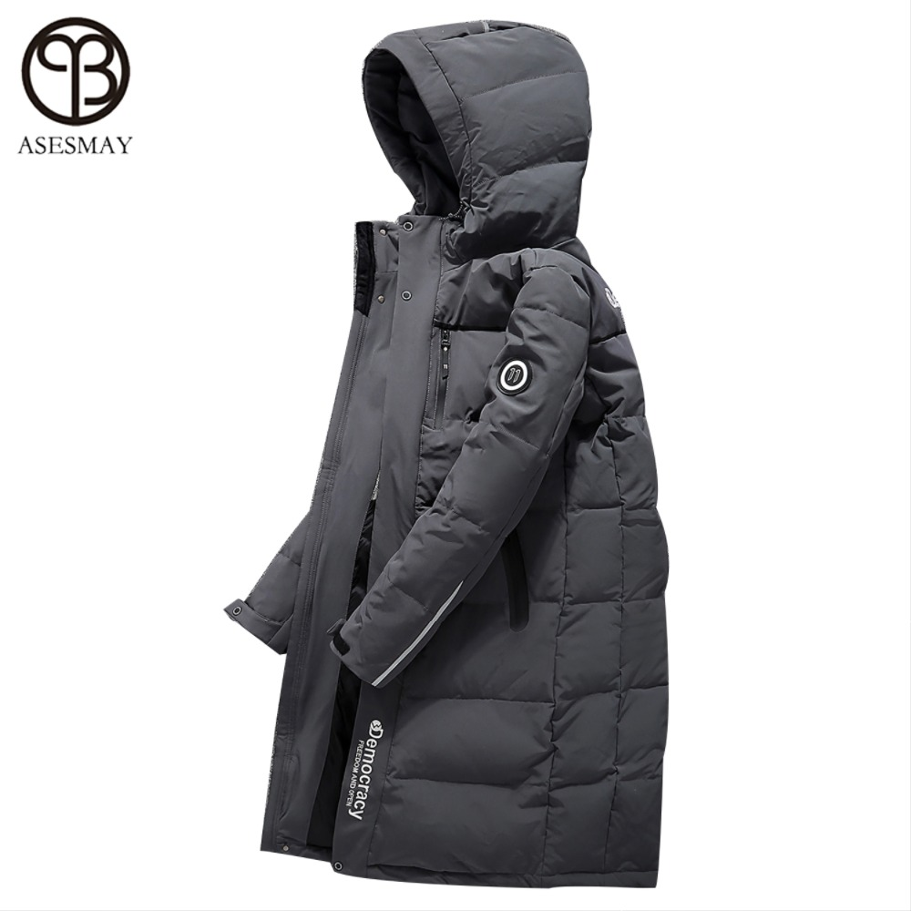 Asesmay 2017 White Duck Down Jacket Mens Winter Coat Hooded Long Down Parka Brand Clothing High Quality Russian Winter Jackets