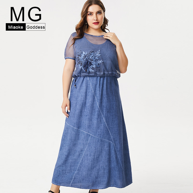MG 2019 Summer Plus Size womens linen maxi dress fashion ladies vintage elegant embroidery long dresses