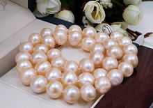 wedding Women Jewelry Necklace 11mm Bright Pink Pearl Choker Necklace Natural Freshwater Pearl