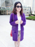 show style genuine mink cashmere sweater women long cashmere cardigan pure cashmere sweater mink fur coat free shipping