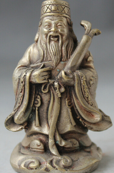 Old Chinese Fengshui Folk Silver Stand Mammon Money Wealth God Culpture Statue S0705 B0403