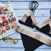 0f1fd2470ddff6 Nowy Sexy komplet bikini w stylu Retro Halter czarne złoto łączone projekt  kobiety strój kąpielowy na