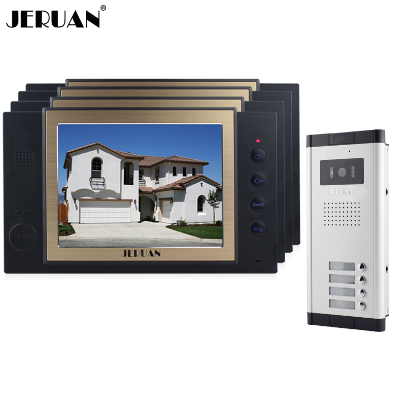 JERUAN Apartment 4 Doorbell 8`` TFT Video Door Phone Record Intercom System 700TVL IR Night Vision COMS Camera For 4 Household jeruan wired 8 inch tft color screen video door phone record intercom system 4 monitor full metal ir night vision camera